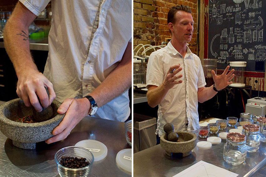 Crushing juniper berries and Jeff explaining his experimentations.