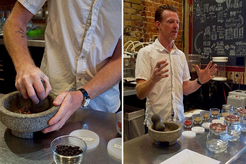 Crushing juniper berries and Jeff explaining his experimentations.
