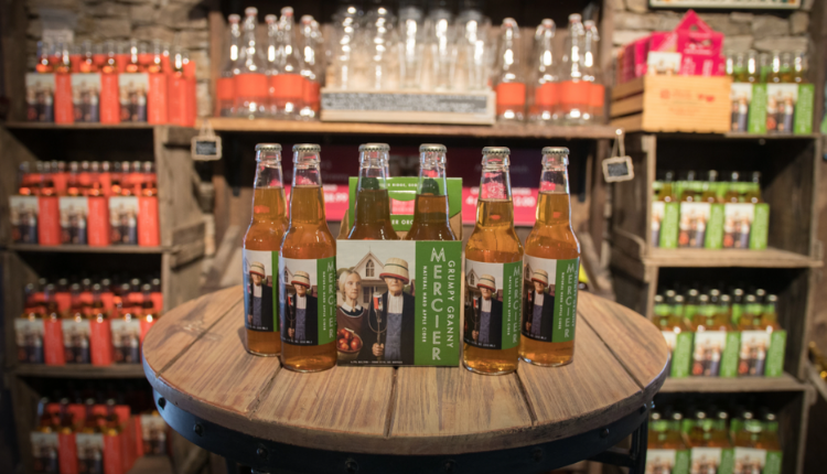 Display of apple ciders and beverages at Mercier Orchards.