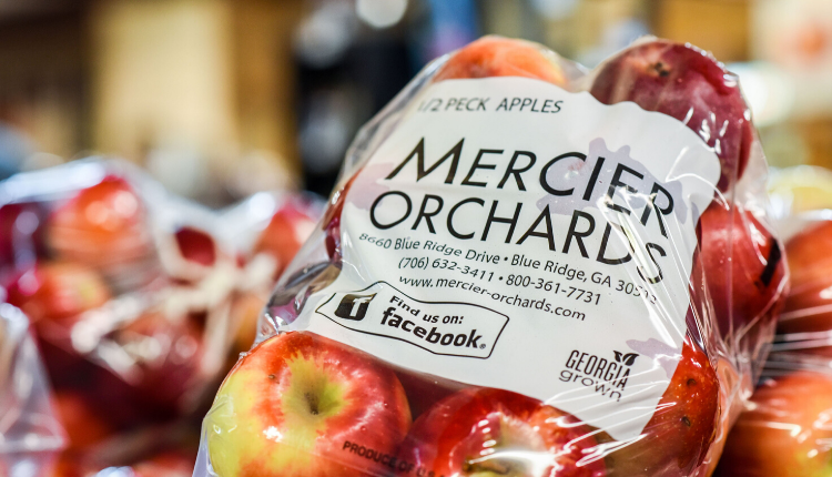 Close up shot of a bag of apples from Mercier Orchards.