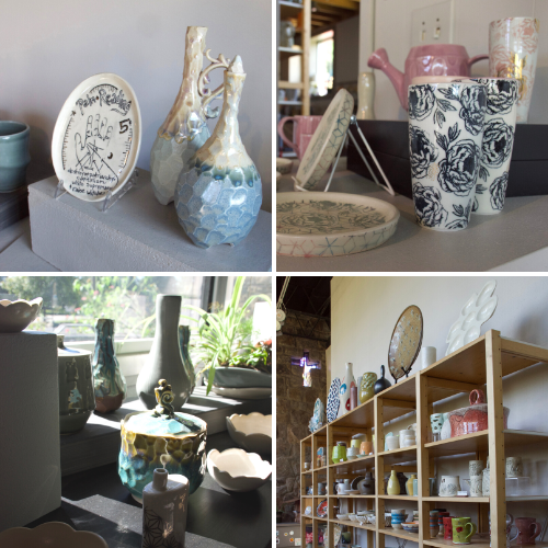 Pottery produced by resident artists are available for sale at the studio.
