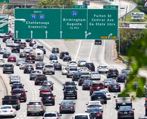 Traffic jam in Atlanta, Georgia.