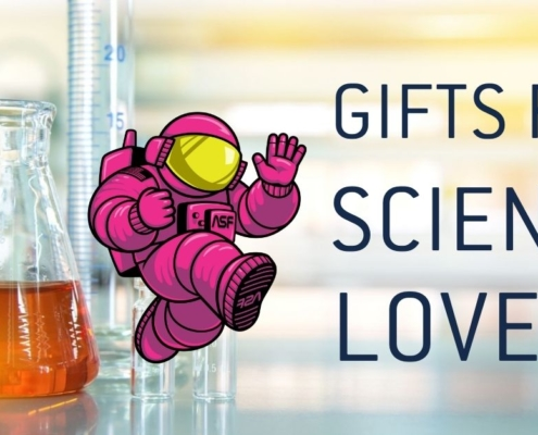 "Pink ALEX mascot with ""Gifts for Science Lovers"" on a chemistry background"