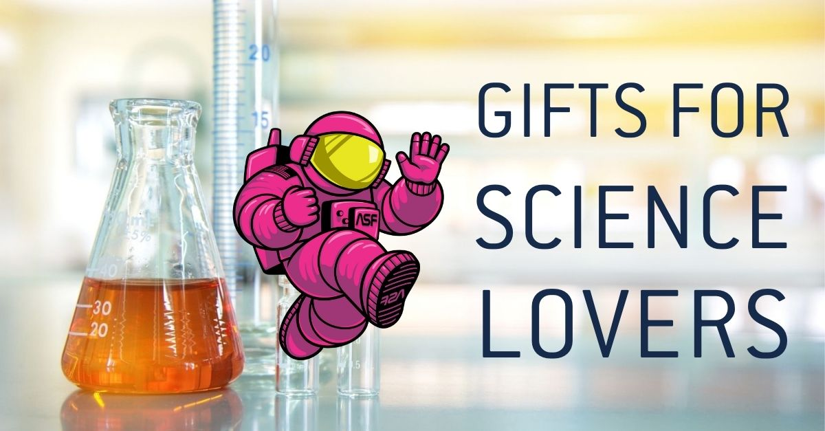 """Pink ALEX mascot with """"Gifts for Science Lovers"""" on a chemistry background"""
