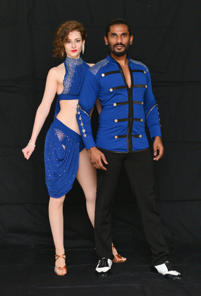 Professional shot of scial dancing dancers Kristen Anne (left) and Ashwin Raju (right)
