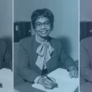 Collage of Gladys West with a navy blue and pink gradient