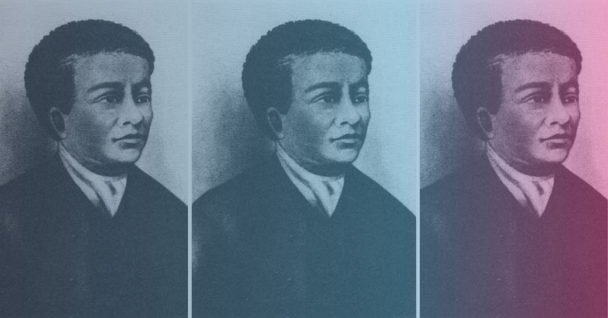 Colorful collage of historic figure, Benjamin Banneker