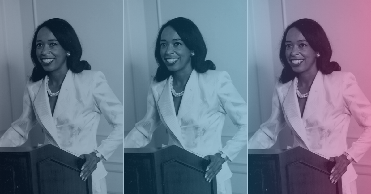 Photo collage of Dr. Patricia Bath with a colorful gradient overlay