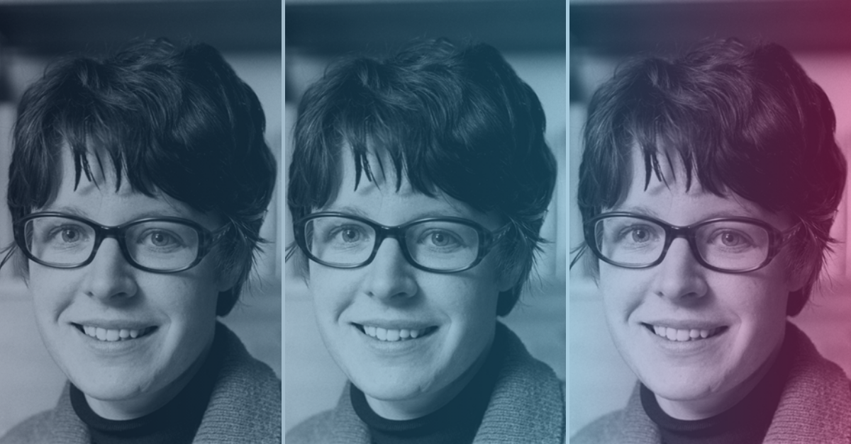 Collage of Jocelyn Bell Burnell with colorful overlay