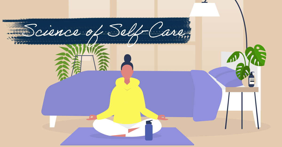 """Illustrated graphic of a woman in a yellow sweatshirt meditating on a purple yoga mat. A navy blue brushstroke and text overlay reads """"Science of Self-Care"""""""